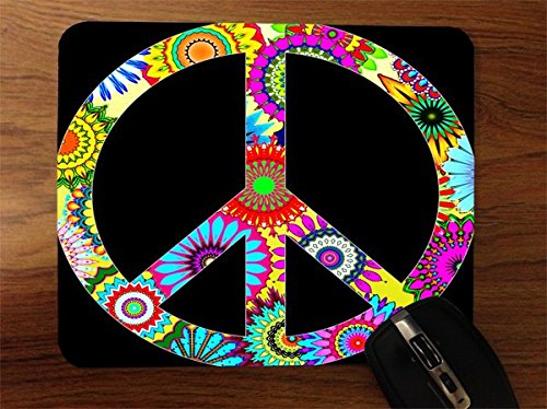 60s Design Peace Sign Desktop Office Silicone Mouse (1960s Peace Sign)