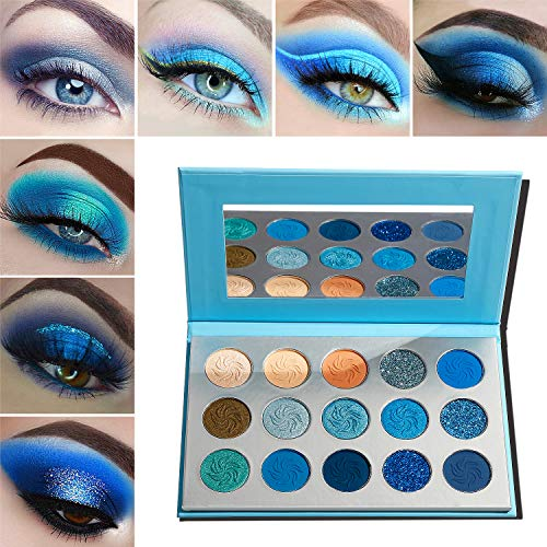 Blue Eyeshadow Palette Makeup,Afflano Pro Matte Glitter Highly Pigmented Waterproof Palette Eyeshadow,Nude Silver Grey Smoky Soft Glam Shimmery Metallic Bright Cute Shiny Girls Vegan Eyeshadow Set