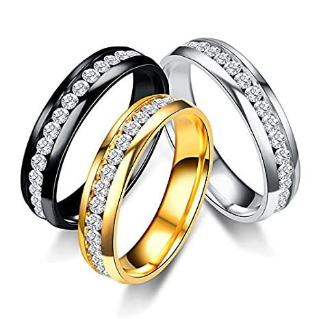 Amazon.com: JEWH Titanium Steel Engagement Wedding Rings for Women and Men - Stainless Steel Ring Jewelry - Fashion Elegant Rings for Couples (Silver for ...