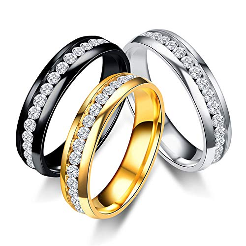 Amazon.com: JEWH Titanium Steel Engagement Wedding Rings for Women and Men - Stainless Steel Ring Jewelry - Fashion Elegant Rings for Couples (Gold for Man) ...