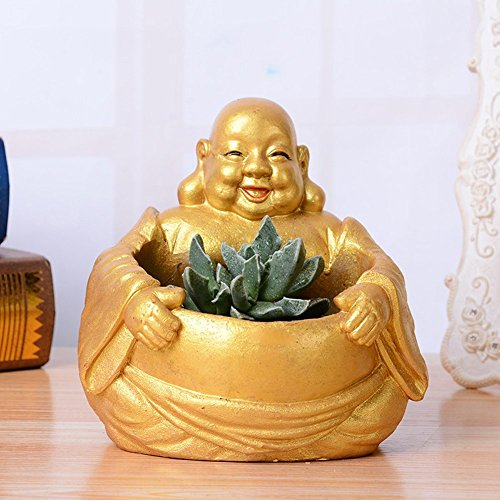 HEYFAIR Creative Buddha Small Flower Plant Pots Succulent Planters Vase (Gold)