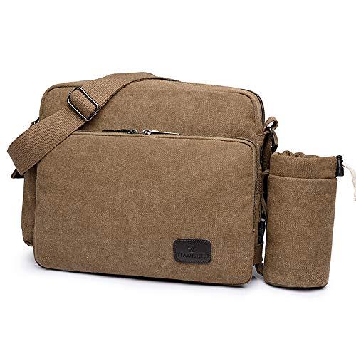 "Price comparison product image MODARANI Mens Canvas 14"" Messenger Bag Satchel Waterproof Sling Bag Purse for 13"" Laptop Fit Business School Travel Brown"