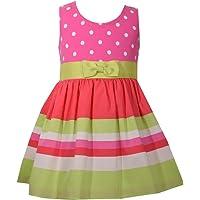 Bonnie Baby Pink Lime Dot Stripe Polka Dot Dress w/Grosgrain Bow