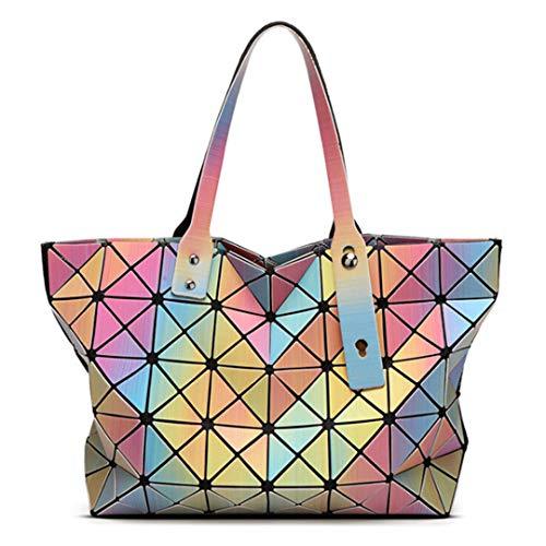 Japanese As Style Show Geometric Diamond Shoulder 3D Picture Gradient Rainbow Bag WOqAn1RA