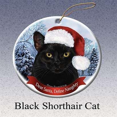 Pet Gifts USA Holiday Pet Gift Black Shorthair Cat Santa Hat Porcelain Christmas Tree Ornament -