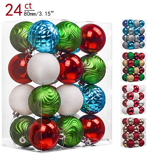 Teresas Collections 24ct 80mm Joyful Elf Shatterproof Christmas Ball Ornaments Decoration,Themed with Tree Skirt(Not Included)