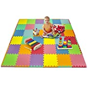 Matney Foam Mat Puzzle Piece Play Mat Set - Safe for Kids to Play and Learn - Great for Nurseries, Play Rooms, Gyms, Day Care, Classrooms, Playgrounds Etc. - 36 Tile Pieces and Borders