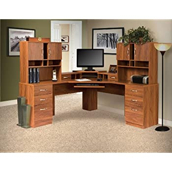 American Furniture Classics L Work Center With Monitor Platform And Two  Hutches