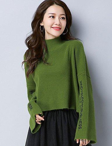 Les Hiver élastique Coton Pull Xuanku Femmes manches Longues Col nbsp;039;s quotidien À Moyen Green Facile Rond Micro wqx1g4PH
