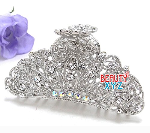 Bling Hair Clip - Beautyxyz woman Large metal silver WHITE bling paisley claw clip medium thick hair