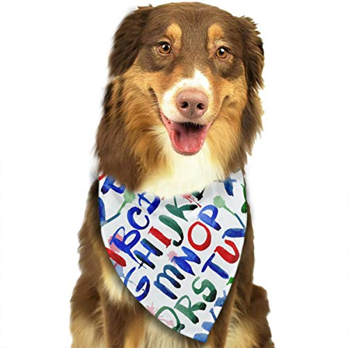 Go Gogdog ABC Alphabet Watercolor Scarf Pet/Creative Dog Bandanas ()