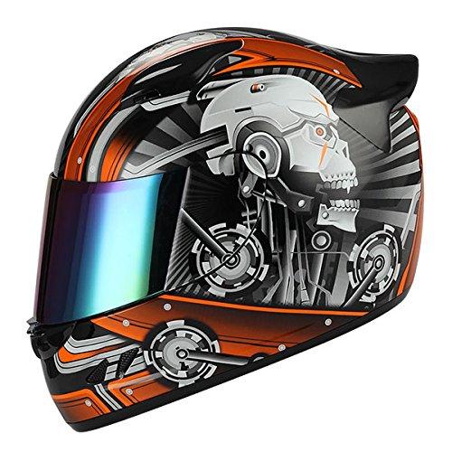 Orange Face Helmet - 1STORM MOTORCYCLE BIKE FULL FACE HELMET MECHANIC SKULL - Tinted Visor ORANGE