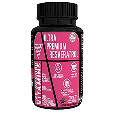 LIV® ULTRA PREMIUM RESVERATROL, 1510 mg Maximum Strength Formula with Quercetin, Grape Seed, Green Tea, Acai & Red Wine Extract, 120 Veggie Capsules, 60 days supply