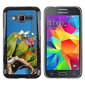 TECHCASE**Cubierta de la caja de protección la piel dura para el ** Samsung Galaxy Core Prime SM-G360 ** Parrots Green Rainforest Flower White Nature
