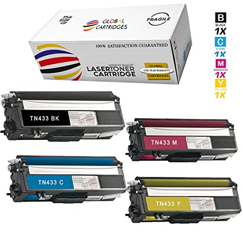 Global Cartridges Compatible Toner Cartridge Replacement Set for Brother TN433 TN431 High Yield/HL-L8260CDW HL-L8360CDW HL-L8360CDWT MFC-L8900CDW MFC-L8610CDW (Black,Cyan,Magenta,Yellow)