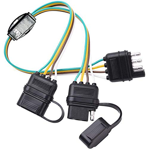 - NEW SUN 4 Pin Flat Y-Splitter Wiring Harness with Rubber Cab for LED Brake Tailgate Light Bars