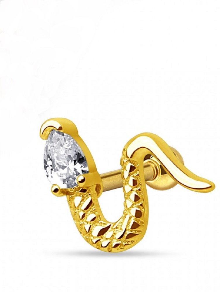 Snake with Triangle CZ Head Freedom Fashion 316L Surgical Steel Cartilage/Tragus Barbell (Gold/Clear)