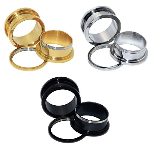 6pcs Stainless Steel Golden Silver Black Screw Fresh Flared Tunnels Ear Plugs Stretcher Expander Body Piercing Jewelry 6g(4mm)