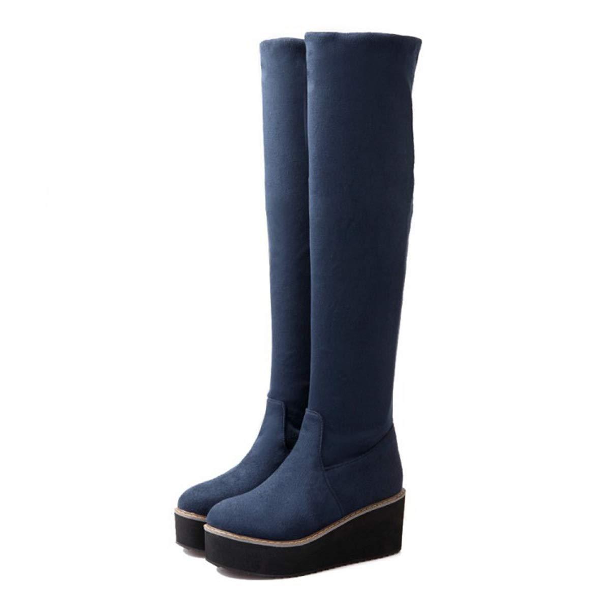 DANDANJIE Damen Schneestiefel Keilabsatz über die Knie Stiefel Rot mit rutschfesten Stretch-Stiefeln Blau Schwarz Rot Stiefel 887f09