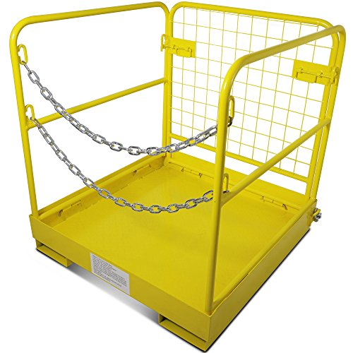 (Titan Attachments Forklift Safety Cage Work Platform Collapsible Lift Basket Aerial Rails 36