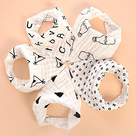 Bebé Bandana Baberos - 5pcs Baberos Super Absorbente y Suave de Algodón Orgánico para Bebés, Recién Nacidos, Lactantes, Niños Pequeños