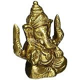Sharvgun Statue Ganesha Sculpture Art Hindu Decor Spiritual; Brass; 2.25 Inches