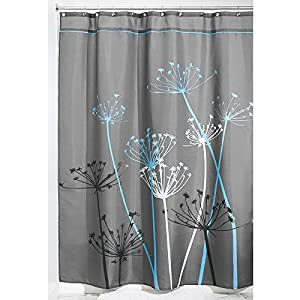 Interdesign Thistle Fabric Shower Curtain Long 72 X 84 Inch Gray Blue Home Kitchen