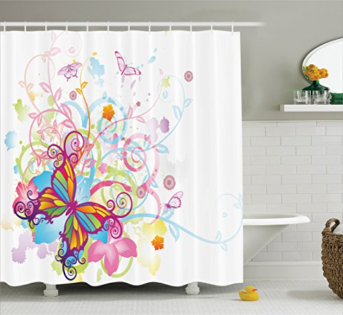 Ambesonne Butterflies Decorations Collection, Butterfly with Floral Elements and Leaves Stylized Curvy Branches Ornament Print, Polyester Fabric Bathroom Shower Curtain, 84 Inches Extra Long, Multi -