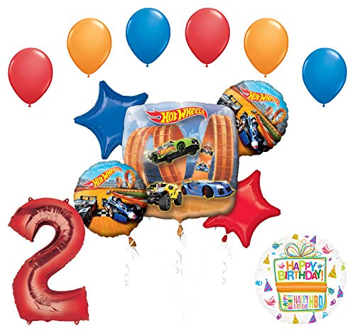 Mayflower Products Hot Wheels Party Supplies 2nd Birthday Balloon Bouquet Decorations -