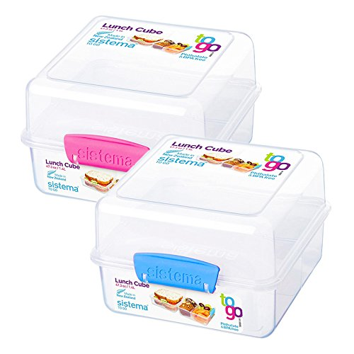 Lunch Cube - 2 X Sistema Klip It Lunch Cube Container - Assorted Colors Sold Separately