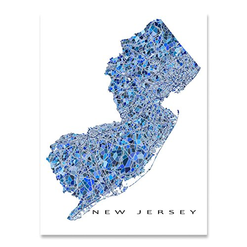 New Jersey Map Print, NJ State Wall Art Decor, - Map Gardens Jersey