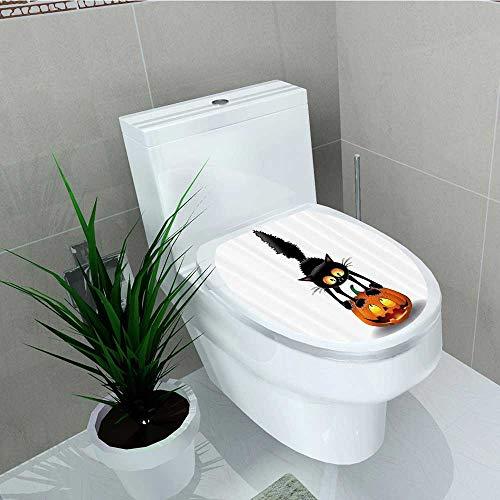 Printsonne Bathroom Removable PVC Black Cat Pumpkin Head Spooky Carto Characters Halloween Humor Themed Vinyl Removable Bathroom W14 x -