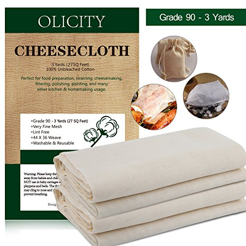 Olicity Cheesecloth, Grade 90, 27 Square Feet, 100% Unbleached Cotton Fabric Ultra Fine Cheesecloth for Cooking, strainer, Baking, Hallowmas Decorations (Grade 90 - 3 Yards)