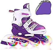 Adjustable Inline Skates with Light up Wheels Beginner Skates Fun Illuminating Roller Skates for Kids Boys and