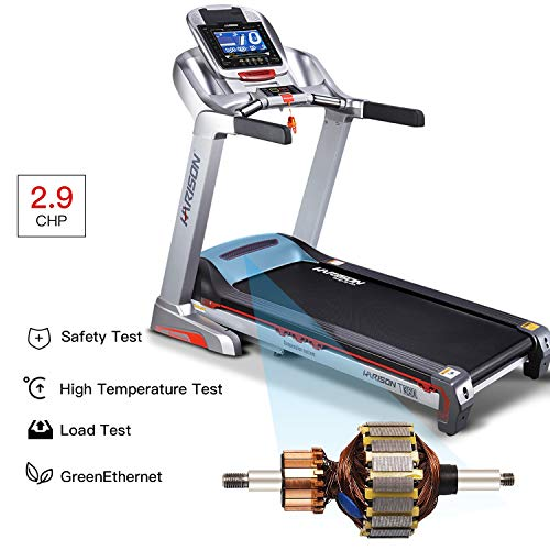 HARISON Electric Folding Treadmill Running Machine with Auto 15 Incline, Home Gym Fitness Machine with 7 Inch LCD Screen, Easy Handrail Controls & Preset Button Speeds, Soft Drop System, Super Quiet