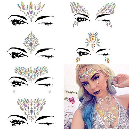 COKOHAPPY 6 Sets Festival Rhinestones Rave Mermaid Face Jewel Tattoo - Tears Gems Rainbow Crystal Rocks Bindi Body Temporary Stones Stickers (Collection 2)