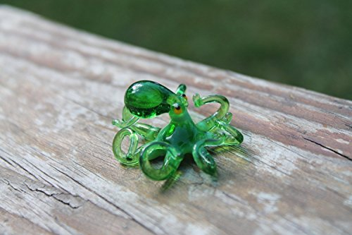 Small Glass Octopus Sculpture Art Collectible Artglass Lampwork animal Figurines Miniature Octopus Little Glass Animals Murano Gift (Gifts Collectibles Art)