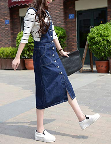 3e26c99929f Yeokou Women s Midi Length Long Denim Jeans Jumpers Overall Pinafore Dress  Skirt at Amazon Women s Clothing store