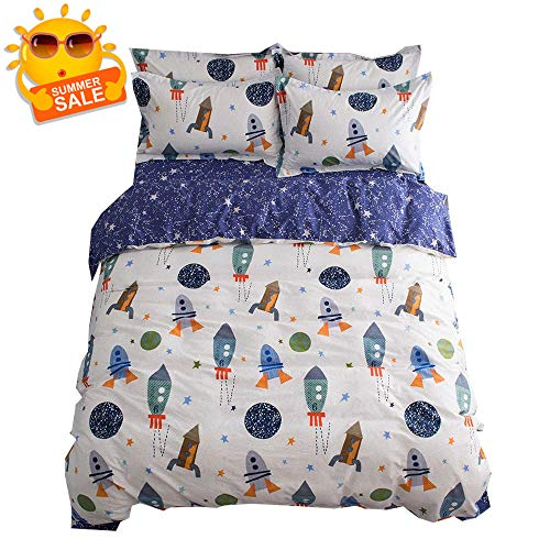 BuLuTu Space Rocket Print Boys Duvet Cover Twin Cotton White Blue Universe Adventure Theme Star Kids Girls Bedding Sets,Astronomy 3 Pieces Boy Bedding with 2 Pillow Shams,No Comforter