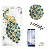STENES LG Aristo 2 Case - Stylish - 3D Handmade Crystal Peacock Design Wallet Credit Card Slots Fold Media Stand Leather Cover for LG Aristo 2 with Screen Protector - Green