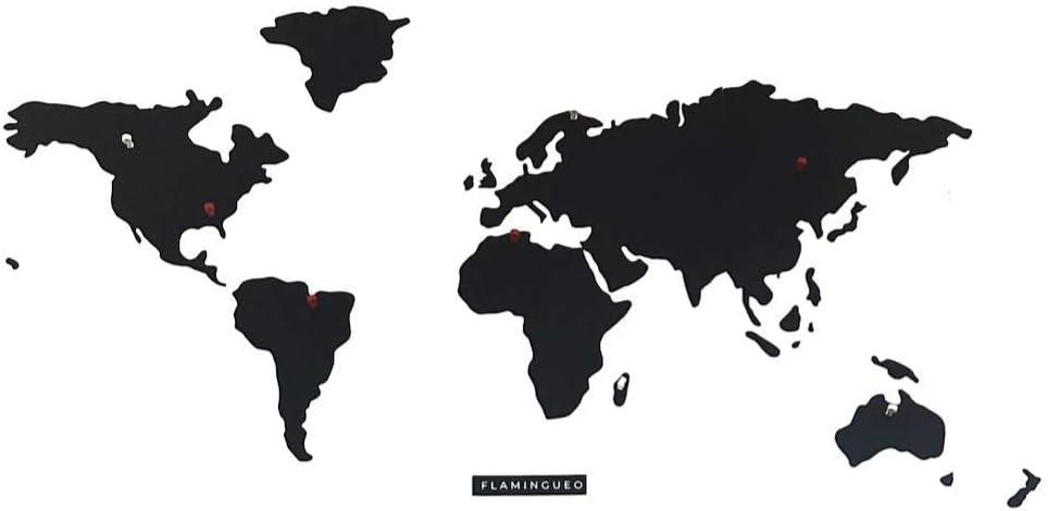 Flamingueo Mapa Mundi Magnetico - Mapa Mundi Metal Pared con Imanes para Fotos, Vinilo Mapa Mundi Pared para Marcar Viajes, Mapa Mundi Grande Pared, Mapa del Mundo, Mapamundi, 103 x 55 cm