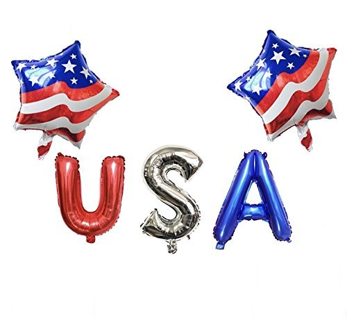 USA Party Balloons Patriotic Day Decoration Set - USA Flag Balloon Star Shaped + USA Latex Balloons July 4TH Independence -
