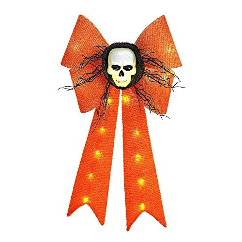 Halloween Hanging Wall / Door Decoration Lighted 26 in. Battery-Operated LED Tinsel Orange Bow with Skull (Halloween Database)