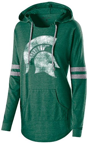 Ouray Sportswear NCAA Michigan State Spartans Adult Women Holloway Hooded Low Key Pullover, Large, Vintage Forest/Vintage Grey (Michigan State Spartans Jacket)