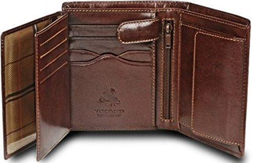 Visconti - Cartera Piel ranuras para 8 tarjetas hombre, marrón (marrón), talla única: Amazon.es: Zapatos y complementos