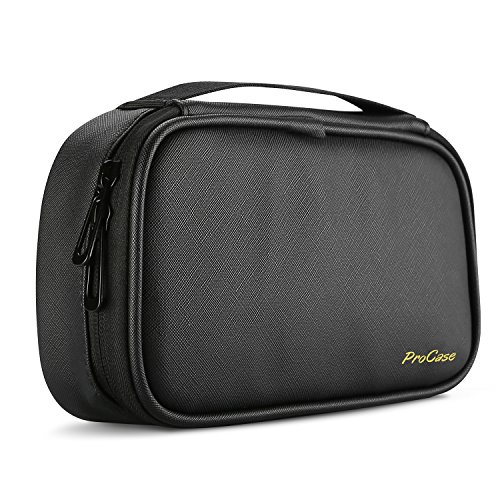 ProCase Travel Electronics Cable Organizer Bag, Double Layer Thicken Portable Gadget Accessories Multifunction Carrying Case Pouch for Cords USB SD Memory Cards Earphones Power Bank Hard Drive –Black by ProCase