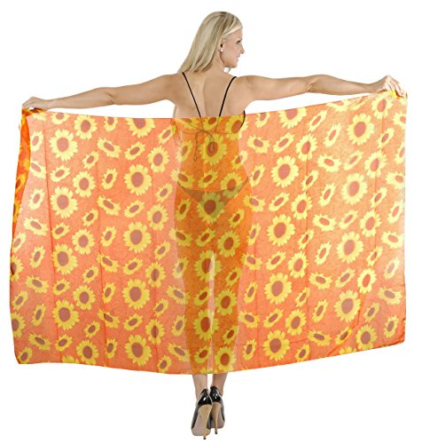 Bathing Suit Cover up Beachwear Swimsuit Swimwear Sarong Dress Pareo Wrap Orange (Sarong Beachwear)