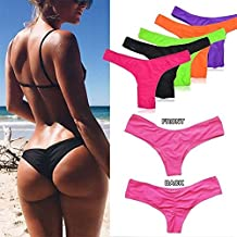 Sexy Women's Brazilian Cheeky Bikini Thong Bottom Ruched Semi Swimsuit Brief