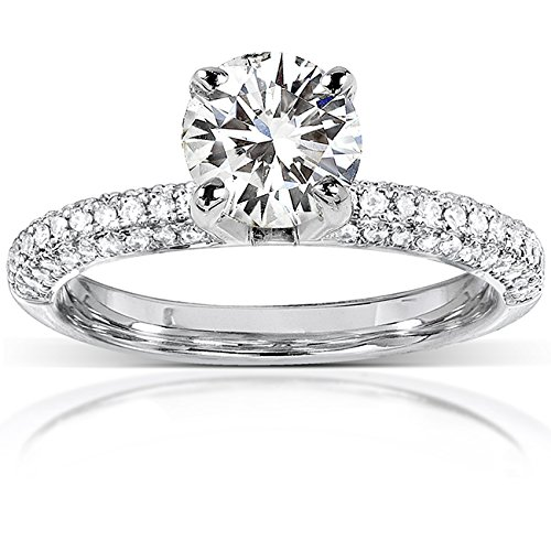 Round Moissanite Engagement Ring with Micro-Pave Diamond 14k White Gold -