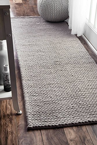 nuLOOM Contemporary Solid Braided Runner Area Rugs, 2' 6